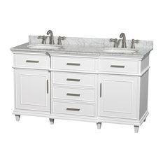 "Berkeley 60"" Double Vanity White Carrera Marble Top, No Mirror"
