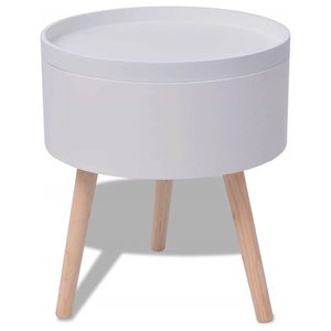 Modern End Table in MDF and Pine Wood Legs With Storage and Round Serving Tray