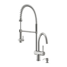 VIGO Chrome Pull-Down Spray Kitchen Faucet, Stainless Steel, With Soap Dispenser