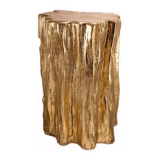 Well Designed Nature Inspired Tree Trunk Stool, Gold