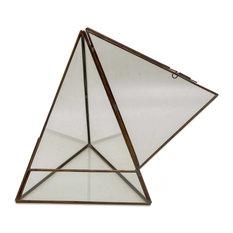 Pyramid Patio Glass and Brass Terrarium