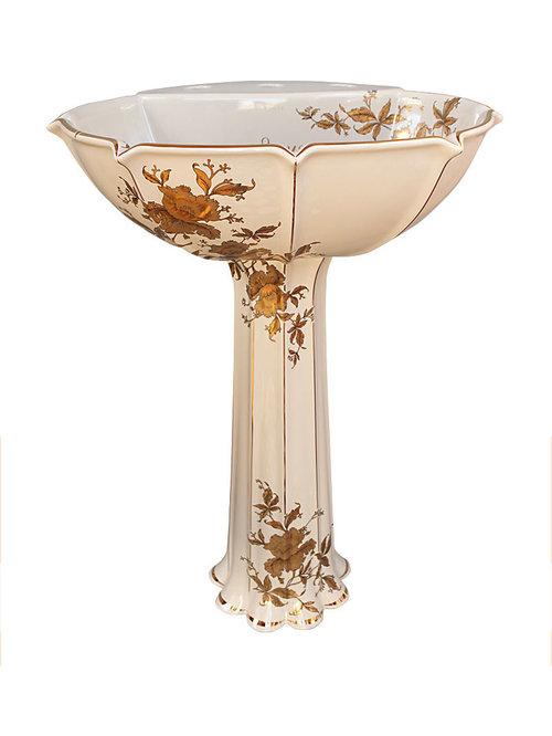 Custom Gold Orchids Painted Pedestal   Bathroom Sinks