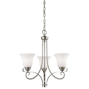 """Chandeliers 3 Light With Brushed Nickel Finish Metal Glass Medium 20"""" 225 Watts"""