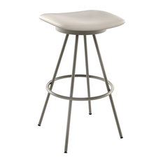 Beacon Swivel Stool, Base: Titanium/Matte Light Gray, Seat Beige, Bar Height