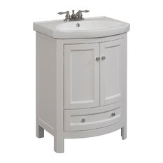 RunFine Group 24-inch Wide Wood Vanity With Vitreous China Top Walnut Finish White