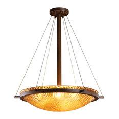 "Veneto Luce Ring 24"" Pendant Bowl, Round Bowl, Dark Bronze With Amber Glass"