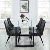 Franco/Silvano 5-Piece Dining Set, Black Table/Vintage Grey Chair