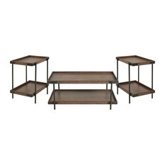 Kyra 3-Piece Oak And Metal Living Room Set