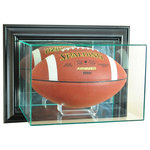Perfect Cases, Inc. - Wall Mounted Football Display Case, Black - This uniquely designed wall mounted display case is the perfect way to protect and display your autographed football.   This case is made so that the top hinges open for easy access inside.  This display case is made with UV Protected, double strength glass and mirror and accented with real wood moulding.  This display case is made with mirror on the back to enhance the look of what you want displayed.  We also use no acids in our display cases to prevent signature fading.   This display case also includes an acrylic holder for your football.