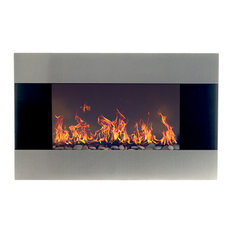Northwest Stainless Steel Electric Fireplace With Wall Mount and Remote