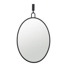 "Stopwatch 22""x30"" Oval Powder Room Mirror, Black"