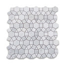 "12""x12"" Carrara White Hexagon Sunflower Ring Waterjet Mosaic Tile Honed"