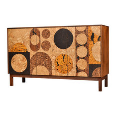 Modern Sideboard Cork And Walnut Circles By  Iannone