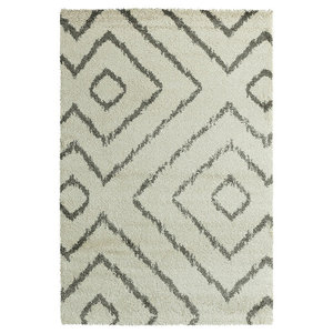 Verdi Ivory Diamond Patterned Rug, 160x230 cm