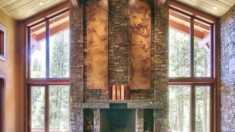 Squaw Valley Stone Fireplace with Copper Accents.