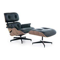 Lux Italian Leather Lounge Chair and Ottoman, Black Italian Leather With Walnut