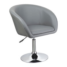 Adjustable Swivel Faux Leather Coffee Chair Gray