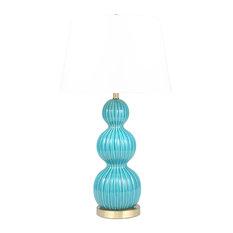 "Ceramic 31"" Triple Gourd Table Lamp, Blue"