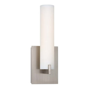 Tube Wall Sconce, Brushed Nickel With Etched Opal Glass