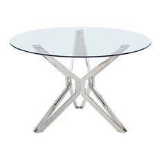 Artisan Furniture Liesl 39-inch Round Glass Dining Table With Silver Chrome Base