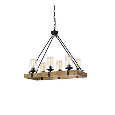 6-Light Matte Black and Vintage Wood Farmhouse Linear Chandelier Clear Glass