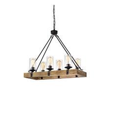 6-Light Matte Black and Vintage Wood Farmhouse Linear Chandelier Clear Glass