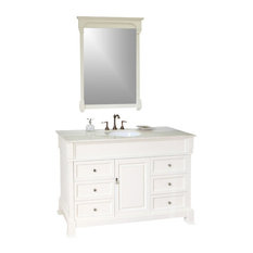 "60"" Single Sink Vanity, Solid Wood, Cream Finish, Cream Marble Countertop"