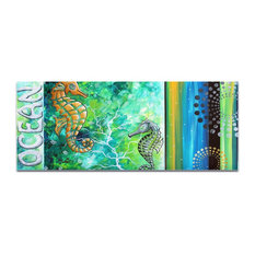 Contemporary Beach Decor 'Ocean', Coastal Bathroom Art on Acrylic