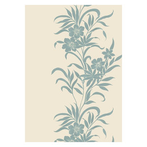 Kazari Wallcovering, Antique White and Blue MKZ303