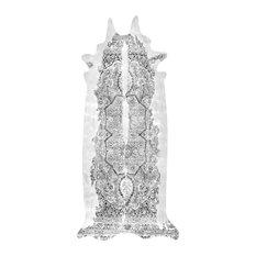 Long Persian Faux Cowhide Rug, Grey, 150x330 cm