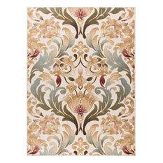 Elise Transitional Floral Ivory Rectangle Area Rug, 7.6' x 10'