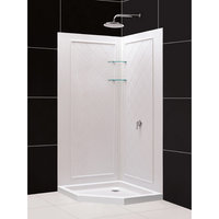 DreamLine 42 in. x 42 in. x 76 3/4 in. H SlimLine Neo-Angle Shower Base and QWAL