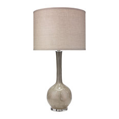 Florence Table Lamp, Taupe Glass With Large Drum Shade, Natural Linen