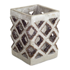 "Candle Holder, Set of 2, 6.5""H Cement"