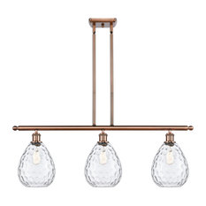 Large Waverly 3-Light Island-Light, Antique Copper, Clear