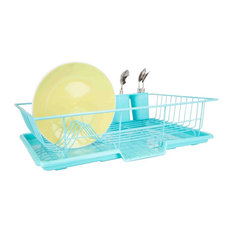 3-Piece Dish Drainer, Turquoise