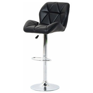 Modern Swivel Bar Stool, Faux Leather With Gas Lift, Backrest, Footrest, Black