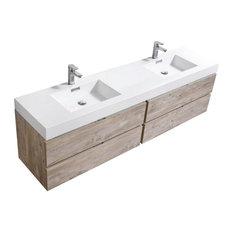 "KUBEBATH - Bliss 80"" Double Sink Nature Wood Wall Mount Modern Bathroom Vanity - Bathroom Vanities and Sink Consoles"