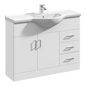 Floor Standing Vanity Unit and Basin, Classic White Ceramic With Inner Shelf