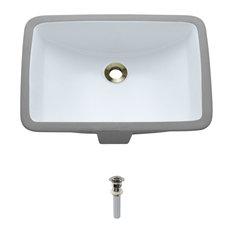 Undermount Porcelain Sink, White, Brushed Nickel Pop-Up Drain