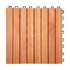 "12""x12"" 8-Slat Eucalyptus Interlocking Deck Tile, Set of 10"