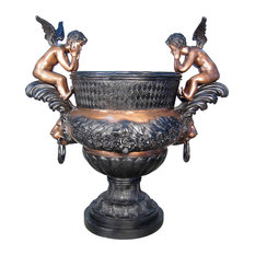 Cherubs Decorative Urn Bronze Sculpture