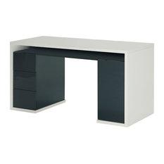 Mordano Wide Desk, Matte White And Grey Gloss