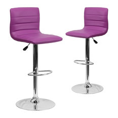 Contemporary Purple Vinyl Adjustable Height Barstools With Chrome Base Set Of 2