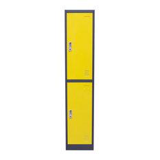 Diamond Sofa 2-Door Metal Storage Locker Cabinet With Key Lock Entry