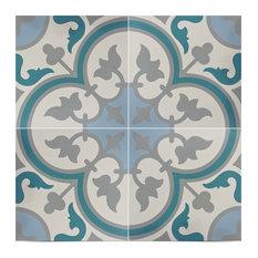 "8""x8"" Casa Handmade Cement Tile in Multicolor, Set of 12"