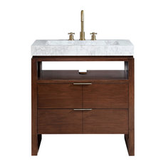 "Avanity Giselle 33"" Vanity, Natural Walnut With Integrated Carrara White"