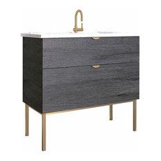 "40"" Modern Bathroom Vanity Set | Smug Akron Oak Wood Gold handle and legs"