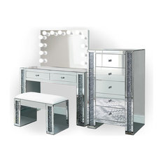 Makeup Station With 2-Drawer Console and Dimmable Glam Mirror, 4 Piece Set