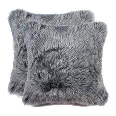 """100% Sheepskin New Zealand Pillows, Set of 2, Gray, 18""""x18"""""""